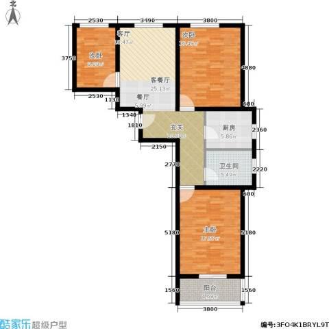 旭阳幸福里3室1厅1卫1厨119.00㎡户型图