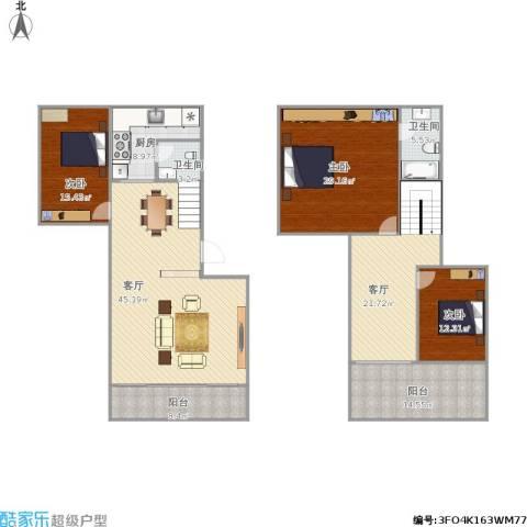 雅怡居3室2厅2卫1厨174.74㎡户型图