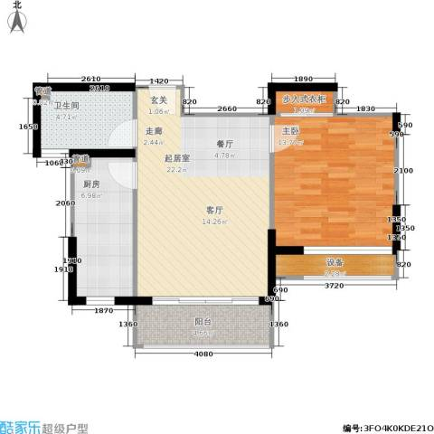 绿岛江湾城1室0厅1卫1厨63.00㎡户型图