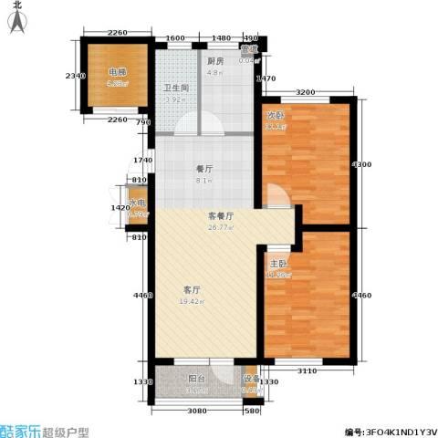 金色雅居2室1厅1卫1厨96.00㎡户型图