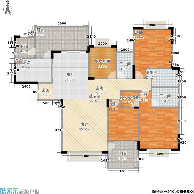 成都雅居乐花园193.90㎡二期6号楼标准层K1-1户型
