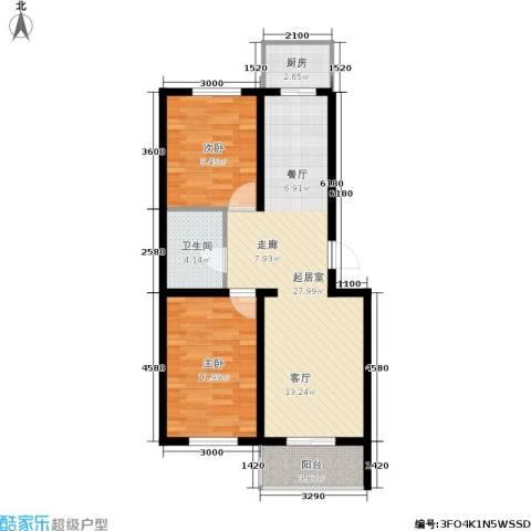 繁兴花苑2室0厅1卫1厨86.00㎡户型图