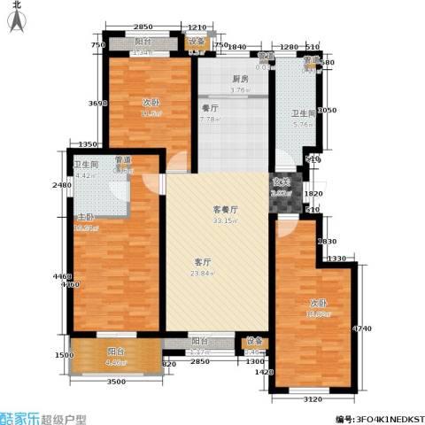水韵名居3室1厅2卫1厨144.00㎡户型图