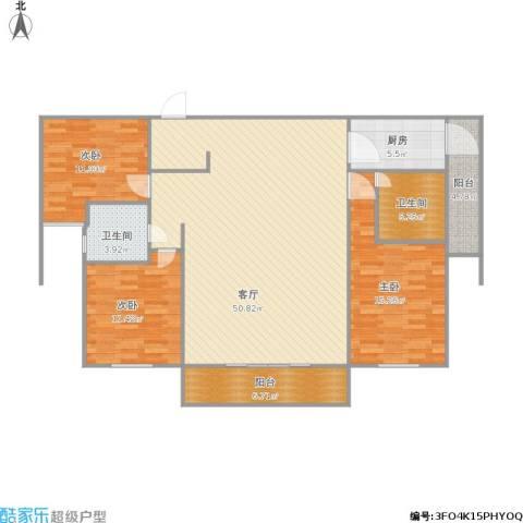 德远未来之城3室1厅2卫1厨154.00㎡户型图