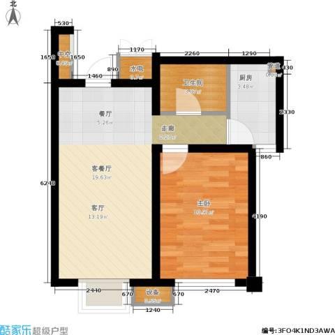 金色雅居1室1厅1卫1厨57.00㎡户型图