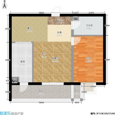 曼哈顿水岸公馆1室1厅1卫1厨83.00㎡户型图