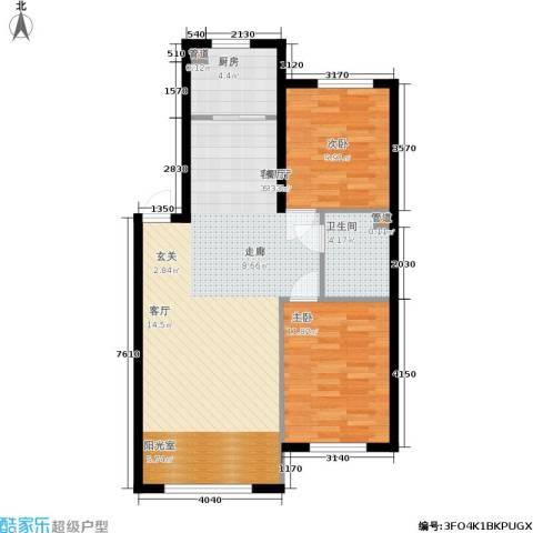 香山美墅2室1厅1卫1厨95.00㎡户型图