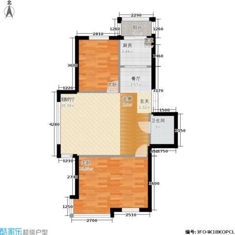 香山美墅2室1厅1卫1厨88.00㎡户型图