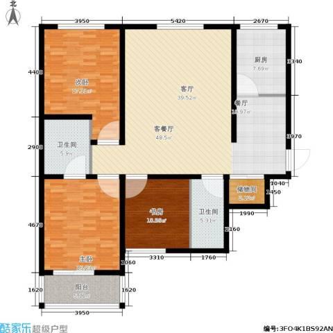 帝豪天成3室1厅2卫1厨135.00㎡户型图