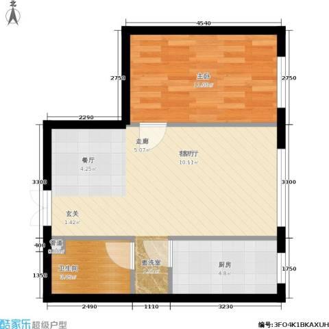 天朗国际广场1室1厅1卫1厨59.00㎡户型图
