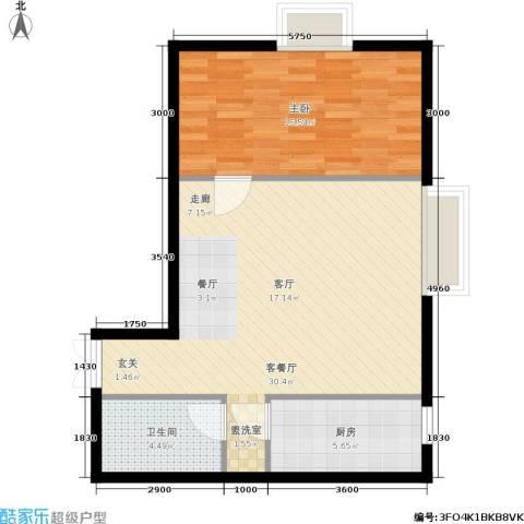天朗国际广场1室1厅1卫1厨78.00㎡户型图