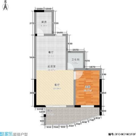 东电民福东方阁1室0厅1卫1厨82.00㎡户型图