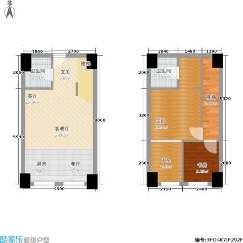 桃源水榭・叠萃2室1厅2卫0厨90.00㎡户型图