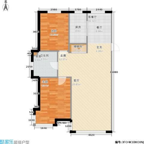 香山美墅2室1厅1卫1厨106.00㎡户型图
