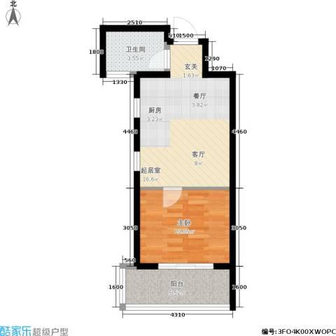 阅城国际花园1室0厅1卫0厨46.00㎡户型图