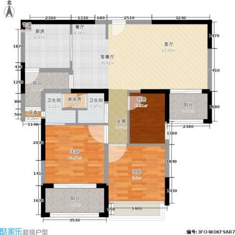 日月光伯爵天地3室1厅2卫1厨93.00㎡户型图