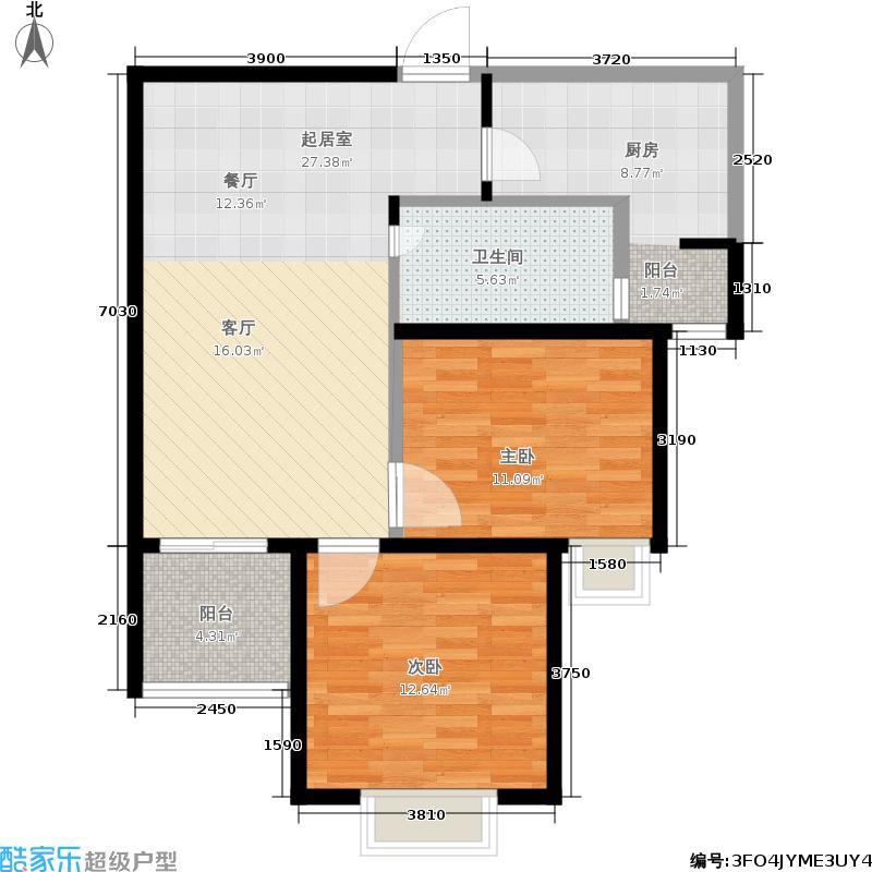 锦园曲江龙邸79.00㎡锦园・曲江龙邸1#楼B户型