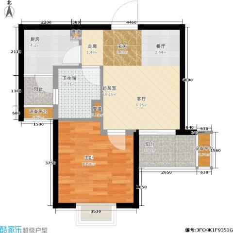 万象后街1室0厅1卫1厨51.00㎡户型图