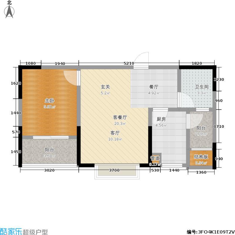 龙跃煕炎景城57.81㎡龙跃・�炎景城B-5户型
