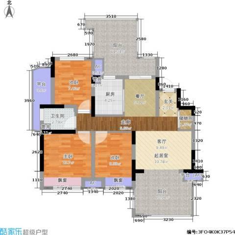 中建溪岸澜庭3室0厅1卫1厨98.00㎡户型图