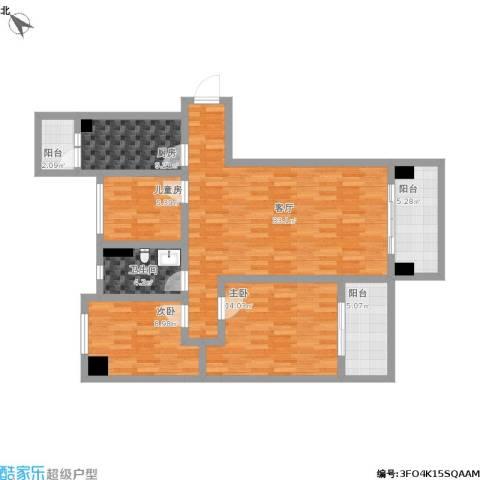 碧桂园・东江凤凰城3室1厅1卫1厨127.00㎡户型图
