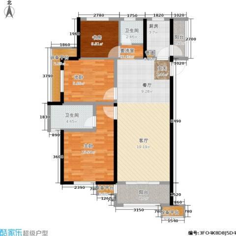 绿地香树花城3室0厅2卫1厨105.00㎡户型图