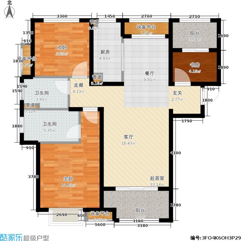 海亮红玺台户型3室2卫1厨