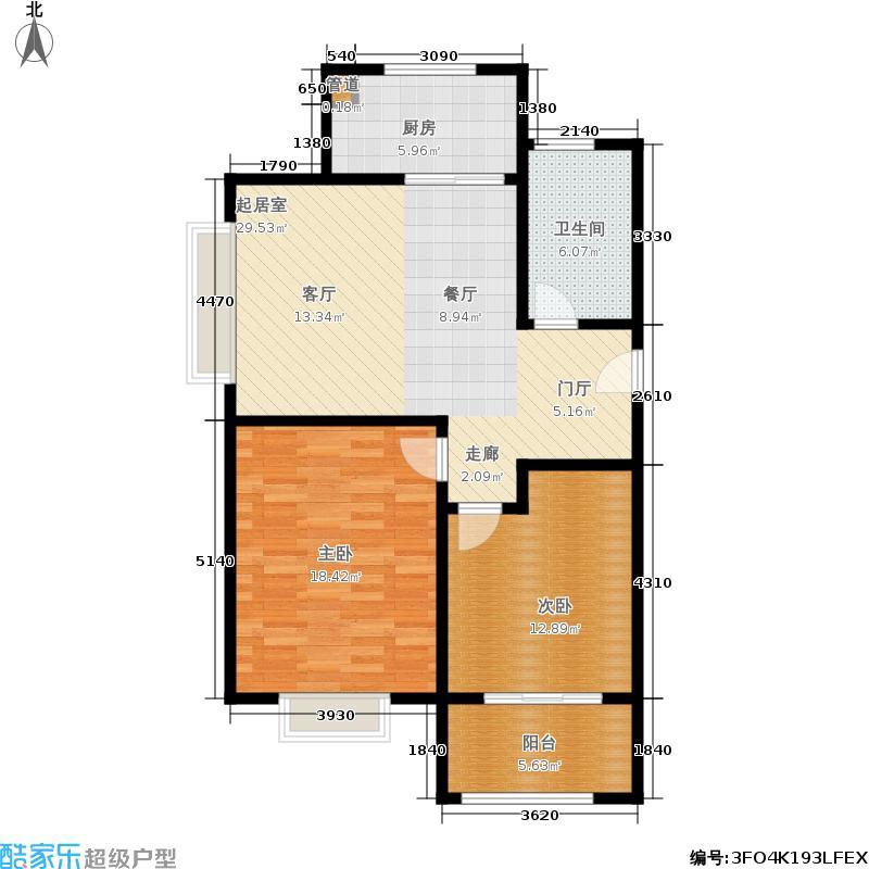 西地华府一期2#、4#、6#楼标准层B1户型