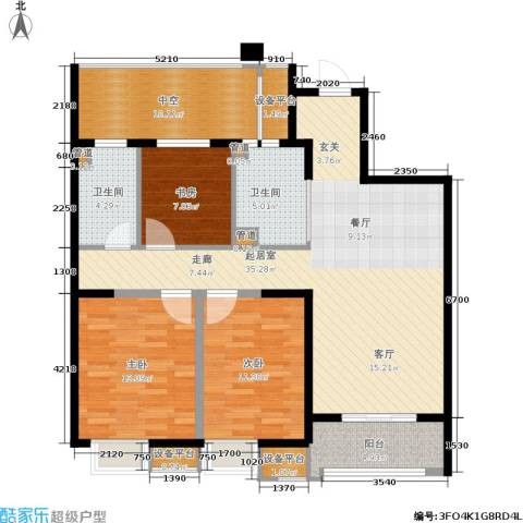 南通华润中心3室0厅2卫0厨108.00㎡户型图