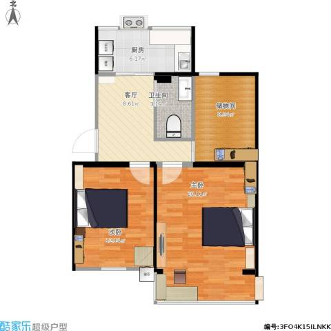 和平新村2室1厅1卫1厨80.00㎡户型图