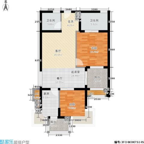 绿中海明苑2室0厅2卫1厨88.00㎡户型图