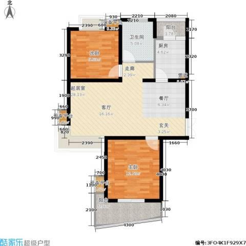 万象后街2室0厅1卫1厨100.00㎡户型图