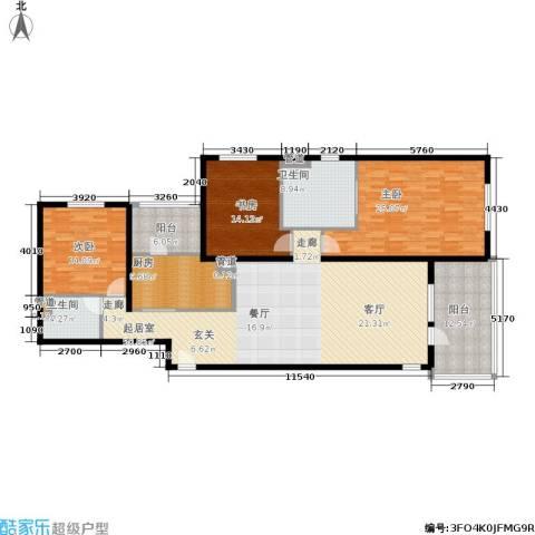 朗诗虹桥绿郡3室0厅2卫1厨160.00㎡户型图