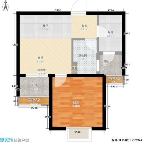 万象后街1室0厅1卫1厨53.00㎡户型图