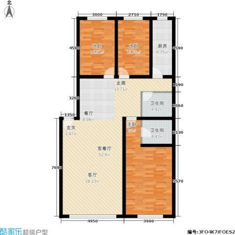 桃源水榭・叠萃3室1厅2卫1厨133.00㎡户型图