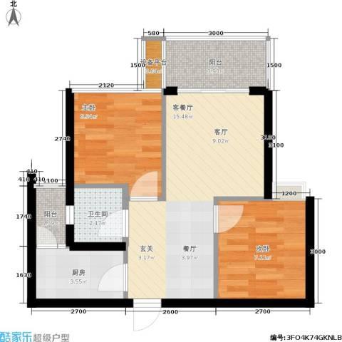 鑫沙时代2室1厅1卫1厨59.00㎡户型图