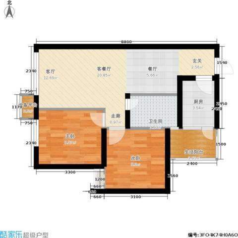 鑫沙时代2室1厅1卫1厨69.00㎡户型图