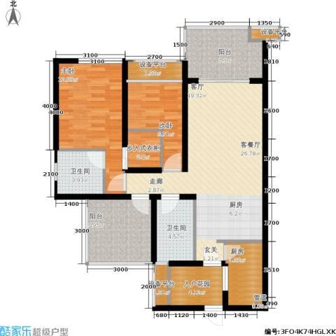 鑫沙时代2室1厅2卫1厨121.00㎡户型图