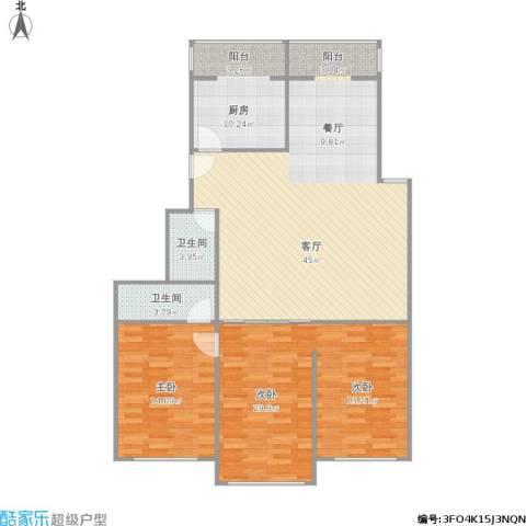三元公寓2室1厅2卫1厨141.00㎡户型图