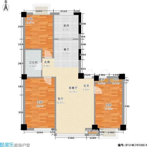 亿丰壹号公馆3室1厅1卫1厨114.00㎡户型图