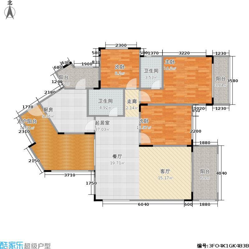 龙光普罗旺斯111.73㎡郁金香庄园3单元053室户型