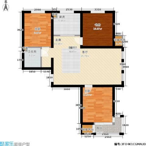 领世城邦3室1厅1卫1厨110.00㎡户型图