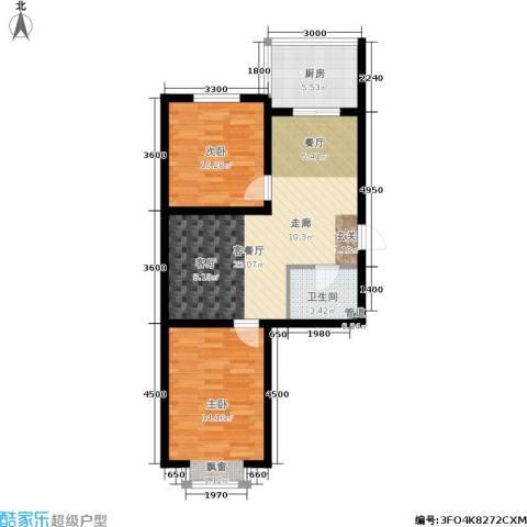 万熹绿景2室1厅1卫1厨67.00㎡户型图