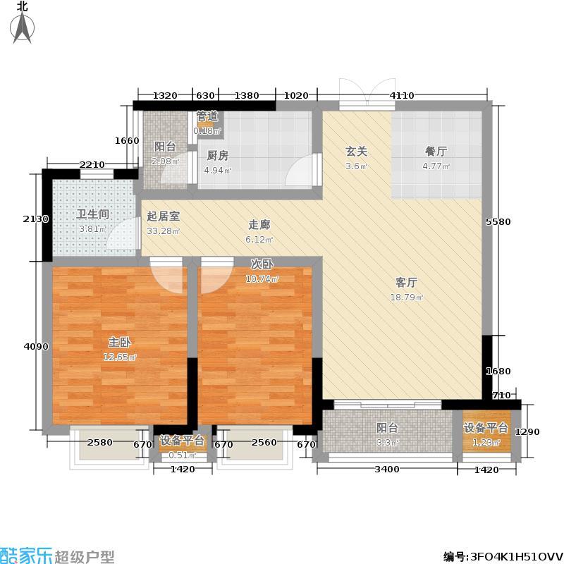 中央城85.00㎡D13#、D14#、D16#楼2户型
