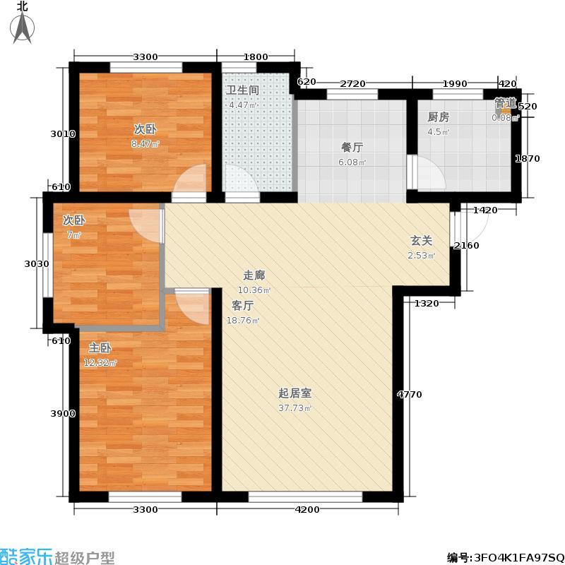 金汇豪庭106.00㎡二期8号楼标准层G户型