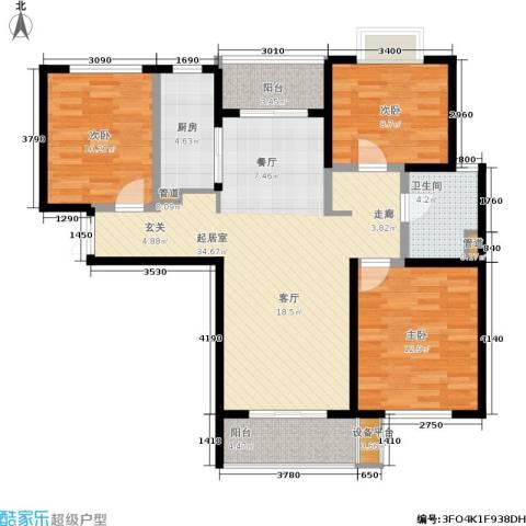 万象后街3室0厅1卫1厨114.00㎡户型图