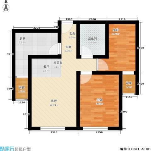 御龙湾2室0厅1卫1厨75.00㎡户型图