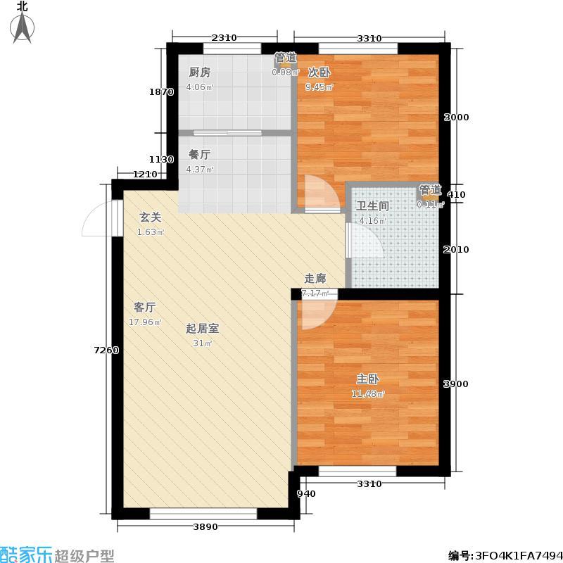 金汇豪庭98.00㎡二期11、12号楼标准层J户型