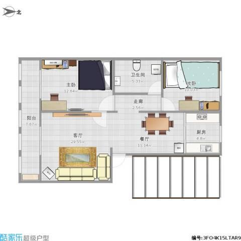 红苹果庄园小区2室1厅1卫1厨116.00㎡户型图