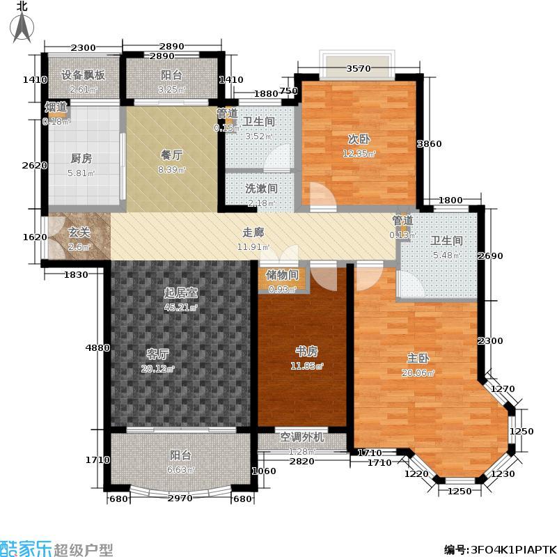 中盛星·河湾129.00㎡A户型3室2厅